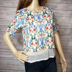 Asos US size 4 tee shirt top with sheer panel